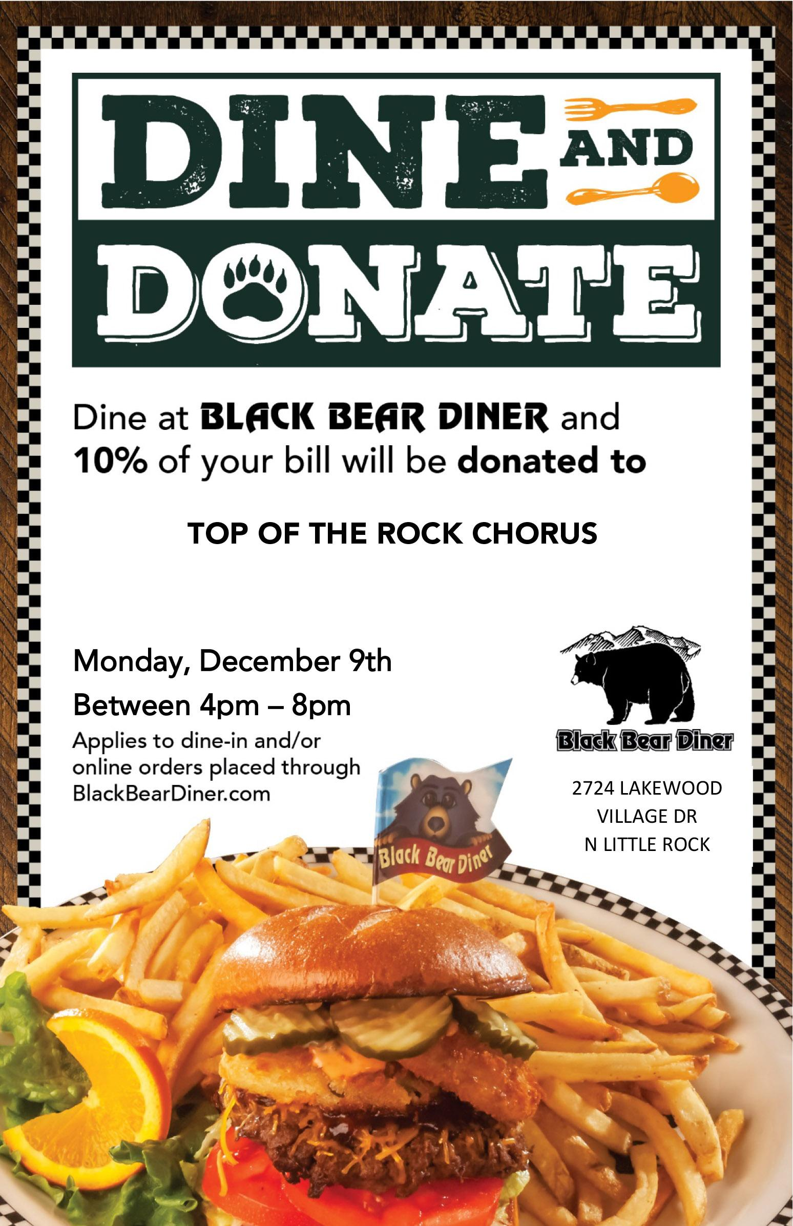 Eat at Black Bear Diner on Dec. 9 and Support TOTR