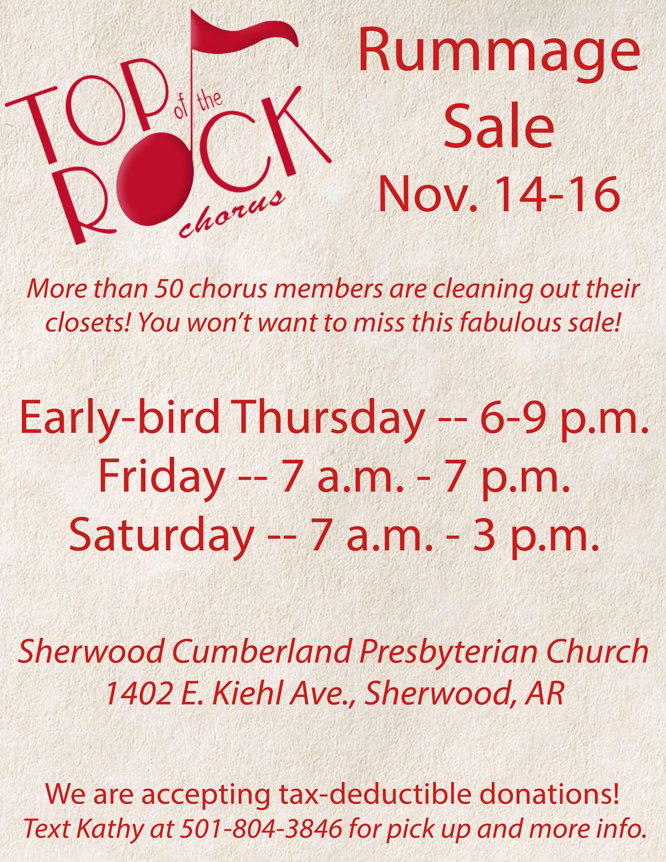 Top of the Rock Rummage Sale Nov. 14-16